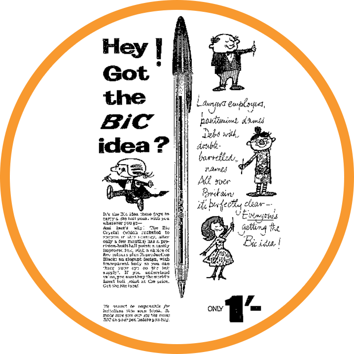 old advertising with a bic cristal and English characters