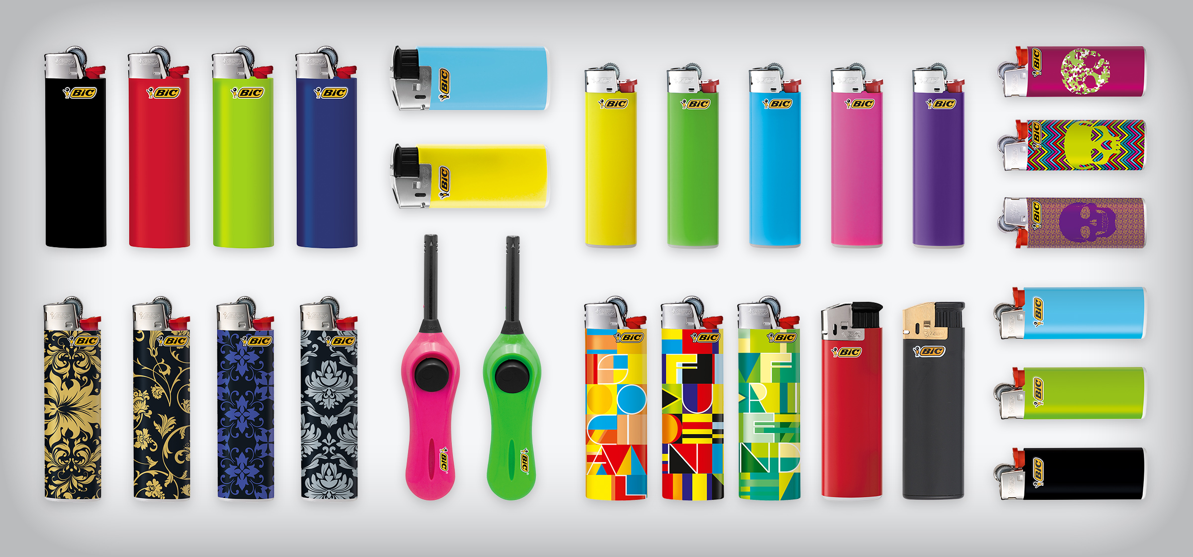 bunch of BIC lighters